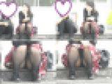 お座りお姉さん発見!!(FHD)大変です!!パンツが見えてますよ175